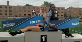 Katherine Pitman '17 (left) won her first national championship in the pole vault, while Brandy Smith '17 repeated as national champ in the discus.
