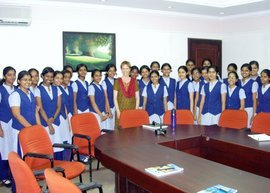 Kathleen Mulligan with students at Rajagari College in India
