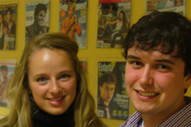 "Kaydi Poirier '11 and Matthew Biddle '11 visit the ""Entertainment Weekly"" offices. Photo courtesy of the author."
