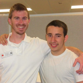Kevin Fish '11 (left) with student Stewart Brim