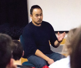 Larry Teng '99 speaks with IC students in February. Photo by Jacob Biel '15