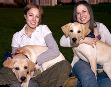 Laura Allocco and Janis Rosen with Guide Dogs Yvonne and Yeltsin