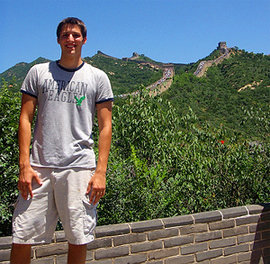 Lee Small '09 at the Great Wall of China