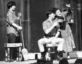 (Left to right) Kathy Keating '63, Roger Harkenrider '64, and Audrie Zerul Terkel '65 in the 1963 Scampers production of Run Twice as Fast.