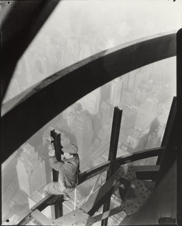 Lewis Wickes Hine, �Man on Girders, Mooring Mast, Empire State Building,� c. 1931