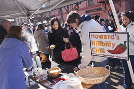 Locals enjoy the Downtown Ithaca Chili Fest