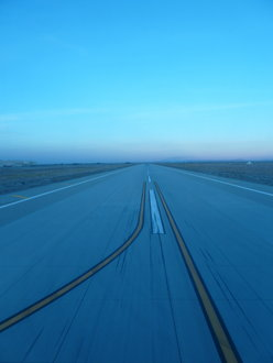 Looking out the window of SOFIA as we taxi across the DAOF runway prior to takeoff on November 18, 2010.