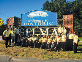 MLK Scholars in front of City of Selma sign
