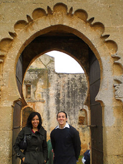 MLK scholars Danielle Harrison '09 and Jared Azuma '09 at a mosque in Rabat, Morocco