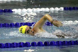 Maddie Kennedy '11 swims the 1650-yard freestyle during the UNYSCSA Championship.