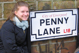Mary Michalow '10 visited Penny Lane while spending a semester at the Ithaca College London Center.