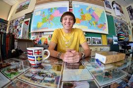 Matt sits behind the desk of his former high school European History teacher.