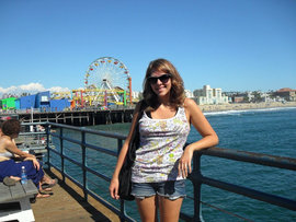 Me at Santa Monica Pier, a very touristy spot. Now, I'm looking for the locals' favorite areas.