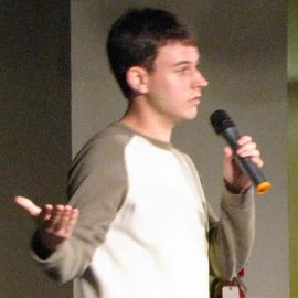 Me performing stand-up for an IC stand-up show