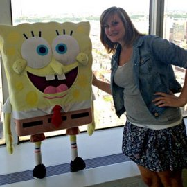 Me posing with Spongebob on my last day interning with Nickelodeon!