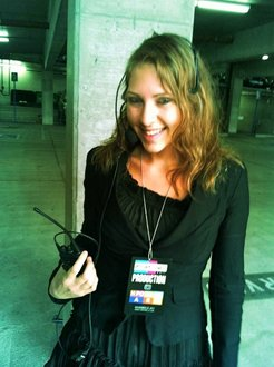 Me with my AMA walkie and badge before the show.