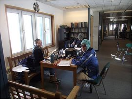 Meghan Miller preparing taxes in Newtok, Alaska.