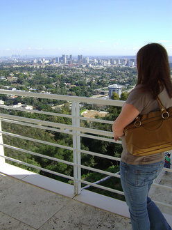Meghan Swope '11 takes in a breathtaking view of the city of LA from a balcony at the Getty Museum.