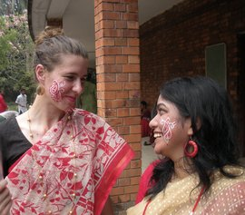 Melendy Krantz '09 with friend in Bangladesh