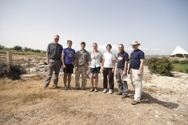 Michael Rogers (right) with colleagues and students (Kevin Hurley '11, 2nd from left and Rebecca Grollman '10, 3rd from right) in Cyprus 2010