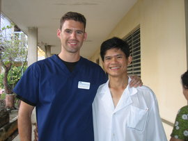 Michael Tabasko (left) with an HVO colleague in Danang, Vietnam