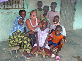 Michelle with Gambian friends