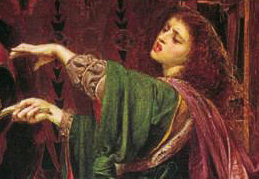 Morgan le Fay, by Anthony Frederick Sandys (1829 - 1904), 1864 (Birmingham Art Gallery)