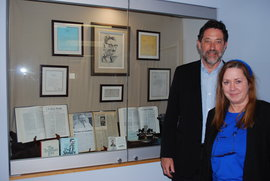 Mother Jones publisher Steve Katz with PCIM's Maura Stephens at the I. F. Stone display