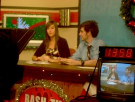 My co-host and I directing my high school's annual 'Live Day'