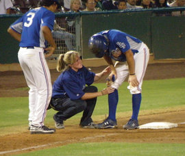 Nancy Patterson on the job with the Inland Empire 66ers, who are based in San Bernardino, California