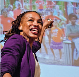 Nia Nunn-Makepeace, assistant professor of education, gave a talk about a community music education program. Photo by Eric Yeckley '15