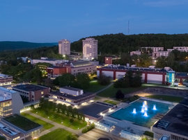 Nighttime photo of campus