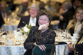 Peggy at the campus gala, enjoying a tribute
