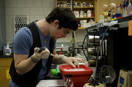 Phil Feinberg '11 is a bio lab prep worker on campus.