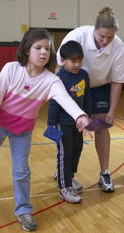 Physical education student teaching at a local elementary school.