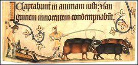 Plowing scene, Psalm 91, Luttrell Psalter, BL Add. MS 42130, fol. 170r (c. 1300-1350)