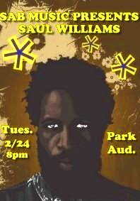Poet Saul Williams performed to a packed house at IC.