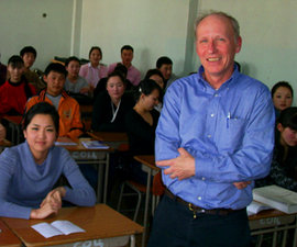 Politics professor Tom Shevory in a classroom in Mongolia.