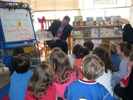 President Rochon reading to kindergarten class