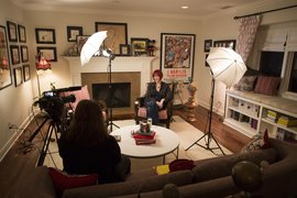 Prof. Chrissy Guest interviewing animator Lauren Faust