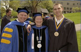 Prof. Kacapyr, Pres. Williams and student
