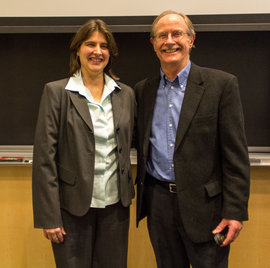 Professor Amy Frith with Dr. Philip McMichael. Photo by Shawn Steiner