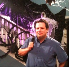 Professor Jack Powers on the set of Modern Family during the filming of its Halloween episode.