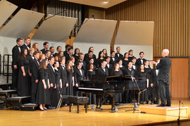 Professor Larry Doebler conducts the Ithaca College Choir during his final concert in Ford Hall. Photo by Matt Prokosch.