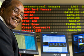 Professor Mulugetta in the trading room