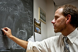 Professor Pfaff, working in his office. Photo by Mike Grippi '10