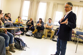 Professor Stewart Auyash leads class discussion.