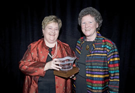 Provost Kathleen Rountree with President Emerita Williams at awards ceremony; photo by Lisa Halfert for American Council on Education