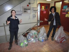 Rachel and Juliet collecting recyclables for the Eco-Reps' Teenage Wasteland project, Spring 2011
