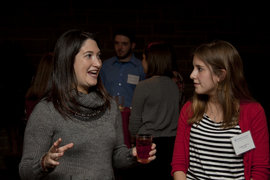 Randi Zuckerberg speaks with Park Scholar Lindsay Smith '14 prior to the event.